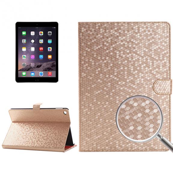 """AppleKing ochranné flip pouzdro s texturou medové plástve pro Apple iPad Air 2 / iPad Pro 9.7"""" - zlaté - možnost vrátit zboží ZDARMA do 30ti dní"""