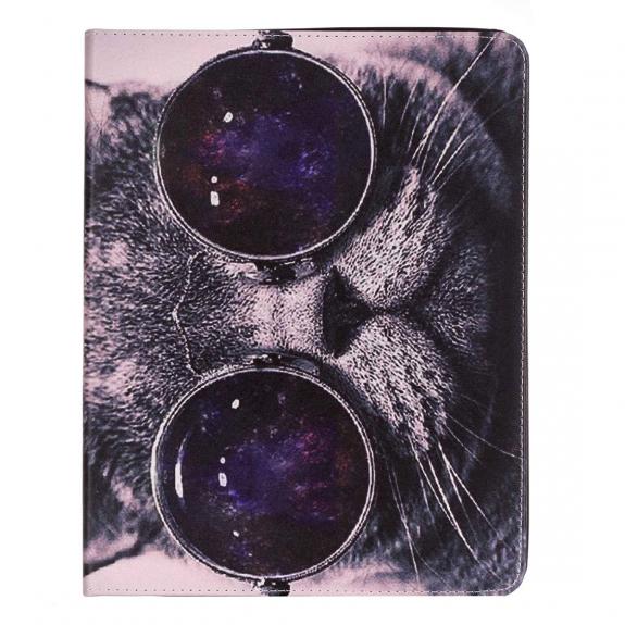AppleKing pouzdro se stojánkem a prostorem na doklady pro iPad 2 / 3 / 4 - kočka s brýlemi - možnost vrátit zboží ZDARMA do 30ti dní