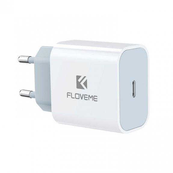 FLOVEME 20W adaptér pro rychlé nabíjení s portem USB-C - bílý - možnost vrátit zboží ZDARMA do 30ti dní