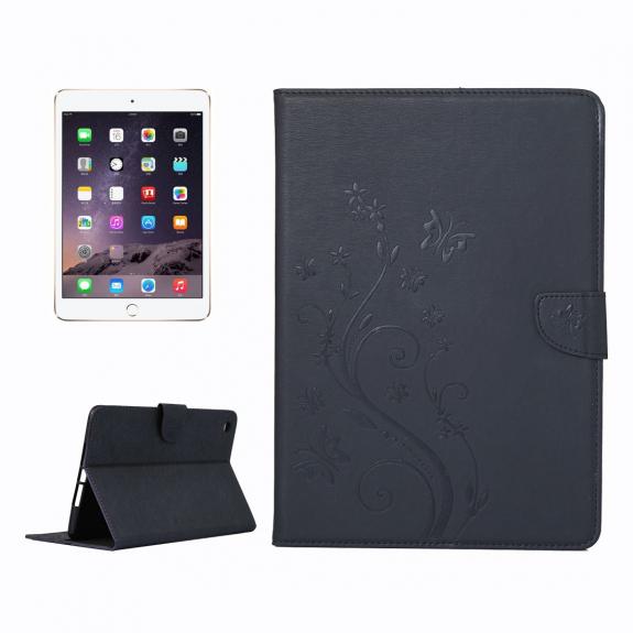 AppleKing ochranné flip pouzdro s motýlím vzorem a integrovaným stojánkem pro Apple iPad Mini 3 / 2 / 1 - černé - možnost vrátit zboží ZDARMA do 30ti dní