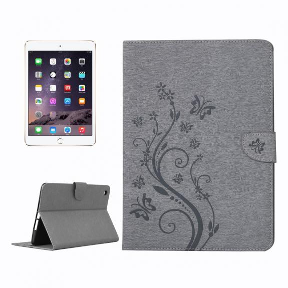 AppleKing ochranné flip pouzdro s motýlím vzorem a integrovaným stojánkem pro Apple iPad Mini 3 / 2 / 1 - šedé - možnost vrátit zboží ZDARMA do 30ti dní