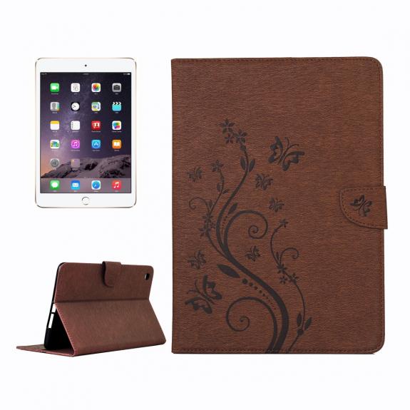 AppleKing ochranné flip pouzdro s motýlím vzorem a integrovaným stojánkem pro Apple iPad Mini 3 / 2 / 1 - hnědé - možnost vrátit zboží ZDARMA do 30ti dní