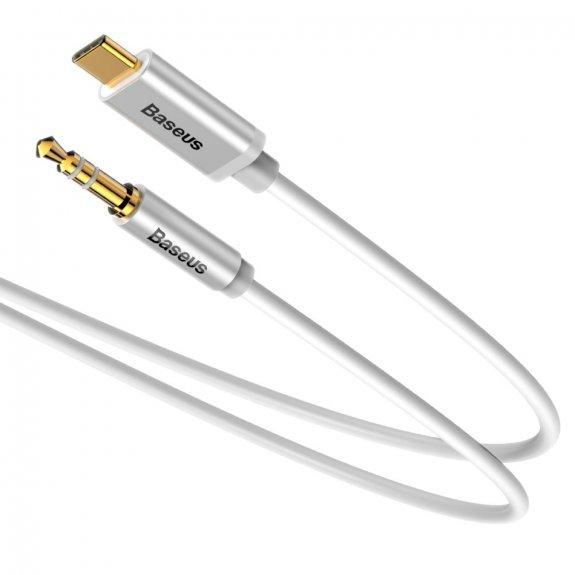 Baseus propojovací kabel s konektory USB-C / 3,5mm jack - 1,2 m - stříbrný - možnost vrátit zboží ZDARMA do 30ti dní