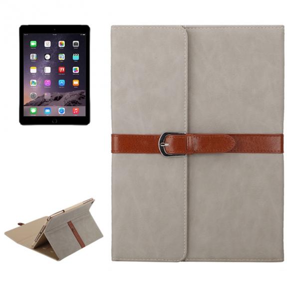 """AppleKing luxusní pouzdro z PU kůže s přezkou pro Apple iPad Air / iPad Air 2 / iPad Pro 9.7"""" / iPad 9.7"""" (2017) / iPad 2018 - světle šedé - možnost vrátit zboží ZDARMA do 30ti dní"""
