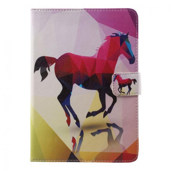 AppleKing ochranný kryt s integrovaným stojánkem a prostorem na doklady pro Apple iPad Mini 3 / 2 / 1 - barevný kůň - možnost vrátit zboží ZDARMA do 30ti dní