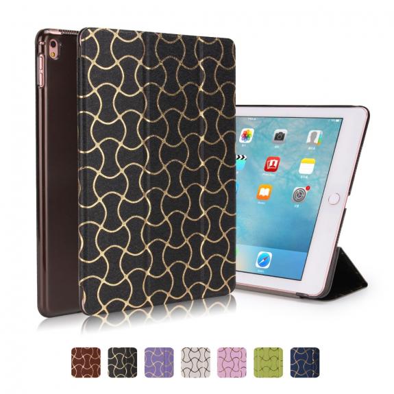 """AppleKing ochranný kryt / pouzdro s funkcí uspání a stojánkem pro Apple iPad Pro 9.7"""" / Air 2 - černé se zlatým vzorem - možnost vrátit zboží ZDARMA do 30ti dní"""