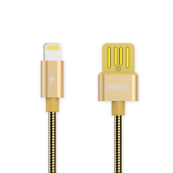 REMAX USB synchronizační a nabíjecí kabel s lightning konektorem a kovovým opletením pro Apple iPhone / iPad / iPod - 1m - zlatý - možnost vrátit zboží ZDARMA do 30ti dní