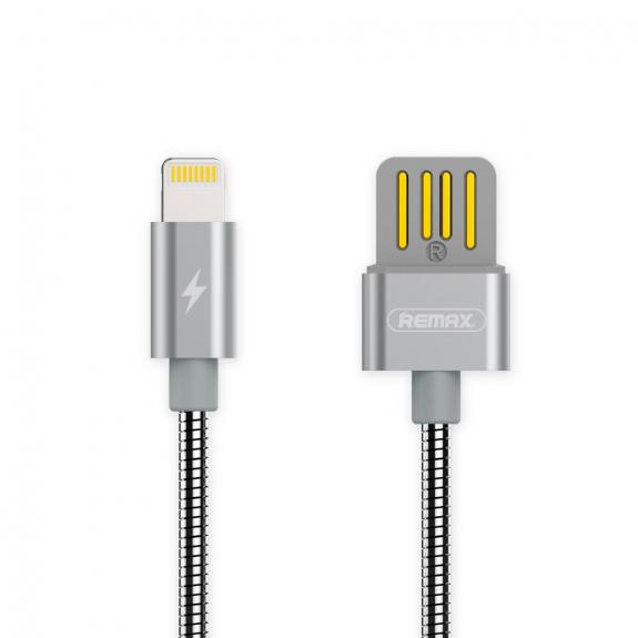 REMAX USB synchronizační a nabíjecí kabel s lightning konektorem a kovovým opletením pro Apple iPhone / iPad / iPod - 1m - stříbrný - možnost vrátit zboží ZDARMA do 30ti dní