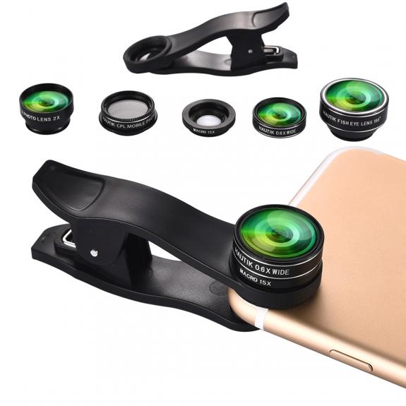 Hautik multifunkční objektiv 4v1 s klipem pro Apple iPhone - 180° rybí oko / makro objektiv / telesk