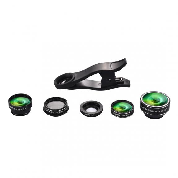 Hautik multifunkční objektiv 4v1 s klipem pro iPhone - 180° rybí oko / makro objektiv / teleskopický