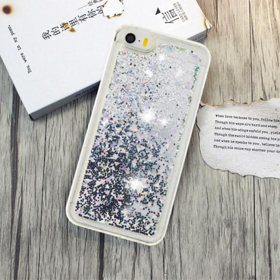 AppleKing ochranný kryt s plovoucími flitry pro Apple iPhone SE / 5S / 5 - černo / stříbrný - možnost vrátit zboží ZDARMA do 30ti dní