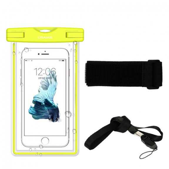 USAMS voděodolné pouzdro s poutkem na krk pro Apple iPhone 6S / 6 - žluté - možnost vrátit zboží ZDARMA do 30ti dní