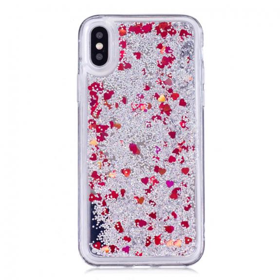 AppleKing ochranný kryt s plovoucími flitry pro Apple iPhone XS / iPhone X - stříbrný s červenými srdíčky - možnost vrátit zboží ZDARMA do 30ti dní