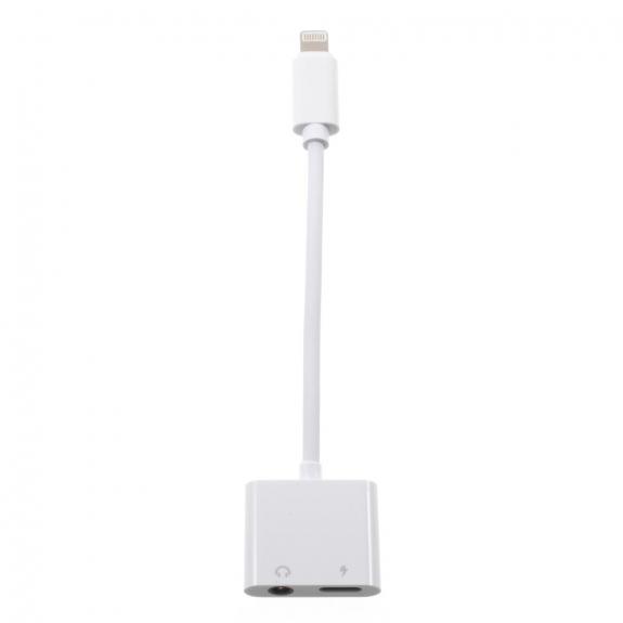 AppleKing redukce s lightning a jack 3.5 konektorem pro Apple iPhone pro nabíjení a současný poslech hudby - bílá - možnost vrátit zboží ZDARMA do 30ti dní