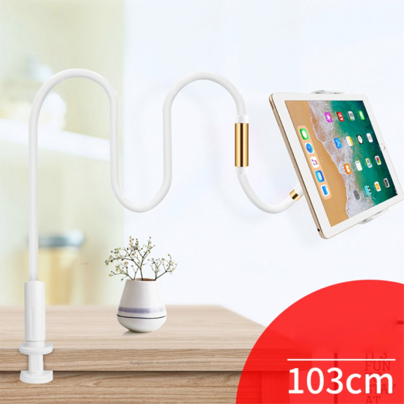KAKUSIGA univerzální polohovatelný stojan pro Apple iPhone / iPad - bílo / zlatý - možnost vrátit zboží ZDARMA do 30ti dní