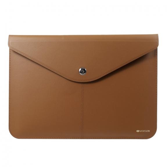 """VORSON elegantní obálka z umělé kůže pro Apple MacBook Air 13"""" / MacBook Pro 13"""" - světle hnědá - možnost vrátit zboží ZDARMA do 30ti dní"""