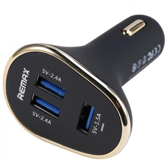 REMAX nabíječka do auta se třemi porty pro Apple iPhone / iPad / iPod - černá - možnost vrátit zboží ZDARMA do 30ti dní