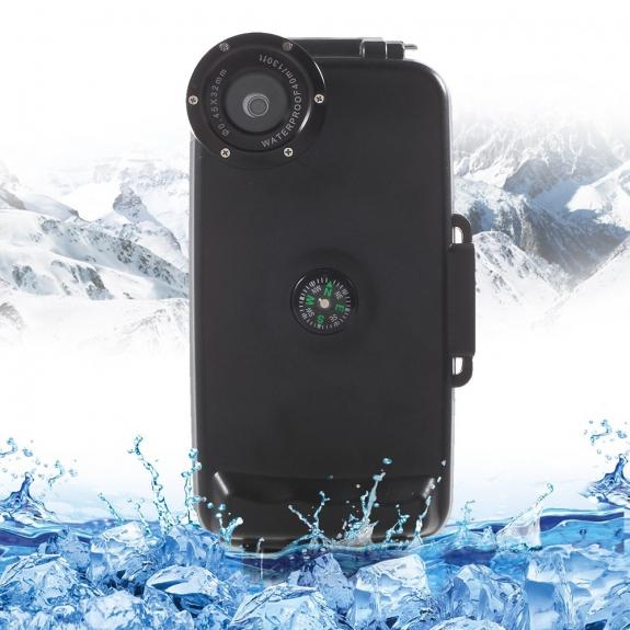 AppleKing vodotěsné vysoce odolné IPX8 pouzdro s kompasem pro Apple iPhone 6 / 6S - černé - možnost vrátit zboží ZDARMA do 30ti dní