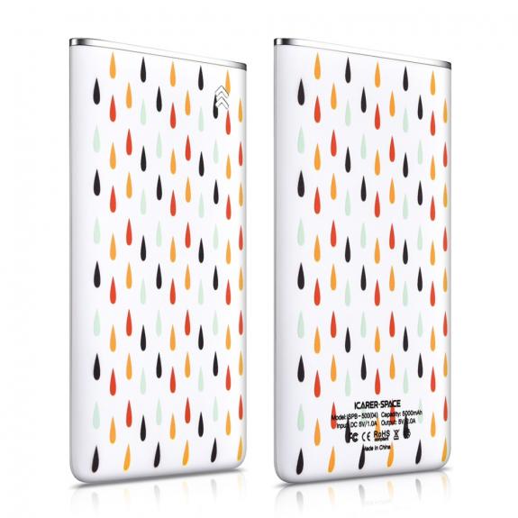 ICARER ultra-tenká powerbanka 5000mAh pro Apple iPhone - barevné kapky - možnost vrátit zboží ZDARMA do 30ti dní