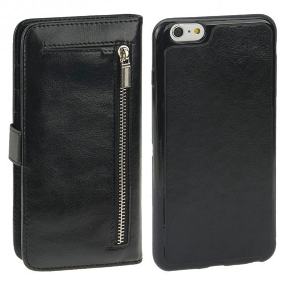 AppleKing 2v1 plastový kryt a odnímatelné kožené pouzdro s prostorem na doklady pro iPhone 6 / 6S - černý - možnost vrátit zboží ZDARMA do 30ti dní