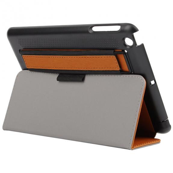 AppleKing ochranný kryt s perforovanou zadní stranou a páskem pro uchycení pro Apple iPad Mini 3 / 2 / 1 - hnědý - možnost vrátit zboží ZDARMA do 30ti dní