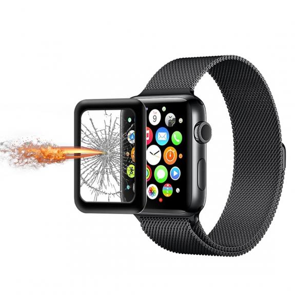 AppleKing ochranné tvrzené 3D sklo s rámečkem pro Apple Watch 38mm - 3. generace - 0.2mm - černé - možnost vrátit zboží ZDARMA do 30ti dní