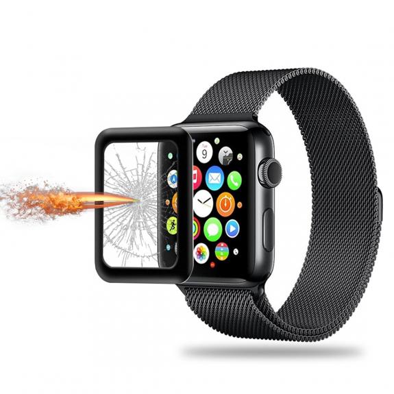 AppleKing ochranné tvrzené 3D sklo s rámečkem pro Apple Watch 42mm - 3. generace - černé - možnost vrátit zboží ZDARMA do 30ti dní
