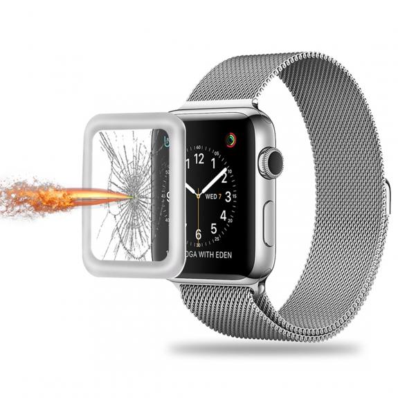 AppleKing ochranné tvrzené 3D sklo s rámečkem pro Apple Watch 42mm - 3. generace - stříbrné - možnost vrátit zboží ZDARMA do 30ti dní