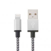 Opletený nabíjecí a synchronizační kabel pro Apple zařízení - 2m - stříbrný