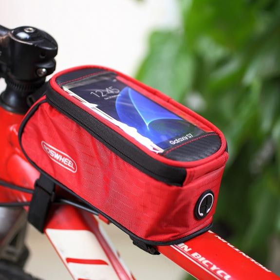 ROSWHEEL sportovní pouzdro na rám kola s kapsou pro Apple iPhone 6 / 6S - červené - možnost vrátit zboží ZDARMA do 30ti dní