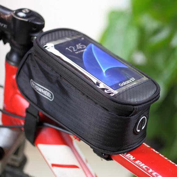 ROSWHEEL sportovní pouzdro na rám kola s kapsou pro Apple iPhone 6 / 6S - černé - možnost vrátit zboží ZDARMA do 30ti dní