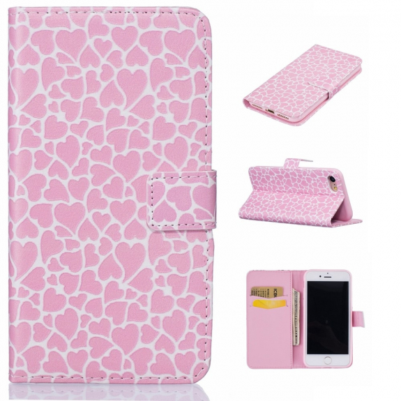 AppleKing pouzdro se stojánkem a sloty na karty pro Apple iPhone 7 - růžové se srdíčky - možnost vrátit zboží ZDARMA do 30ti dní