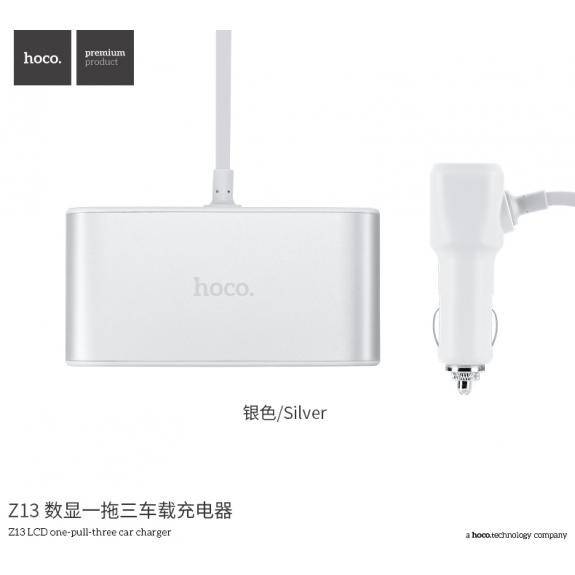 HOCO rozbočovač auto-nabíječky s displejem pro Apple zařízení - bílá - možnost vrátit zboží ZDARMA do 30ti dní