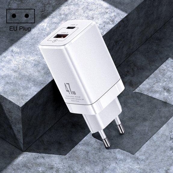 USAMS rychlá nabíječka 47W do EU zásuvky s porty USB-C a USB - bílá - možnost vrátit zboží ZDARMA do