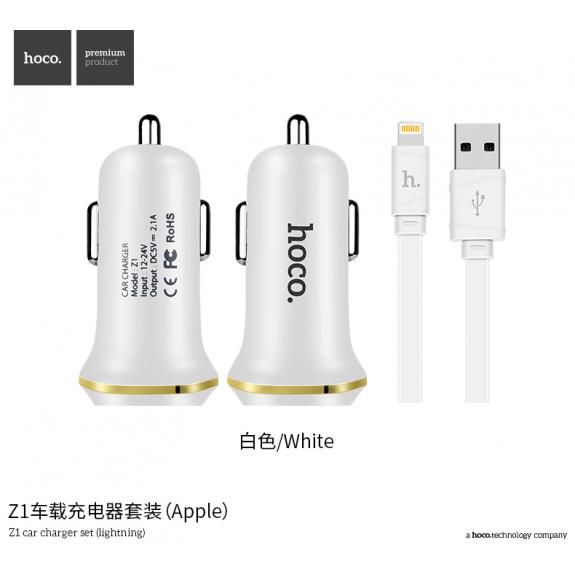 HOCO sada nabíječky do auta a kabelu pro Apple iPhone / iPad / iPod - bílá - možnost vrátit zboží ZDARMA do 30ti dní