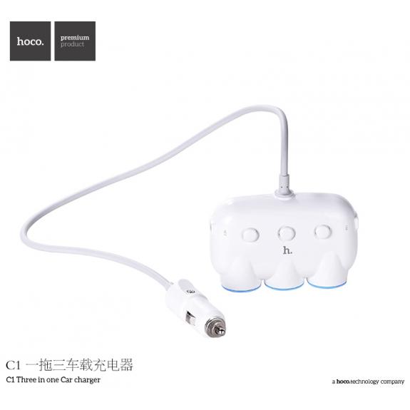 HOCO rozbočovač auto-nabíječky do auta pro Apple zařízení - bílá - možnost vrátit zboží ZDARMA do 30ti dní