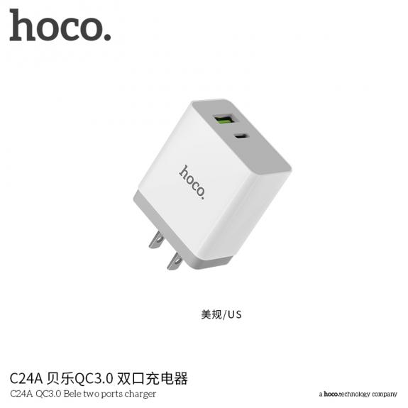 HOCO cestovní nabíječka s americkou zástrčkou s USB / USB-C porty pro Apple iPhone - bílá - možnost vrátit zboží ZDARMA do 30ti dní