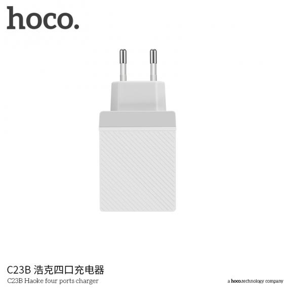 HOCO nabíječka do zásuvky se čtyřmi USB porty pro Apple iPhone / iPod - bílá - možnost vrátit zboží