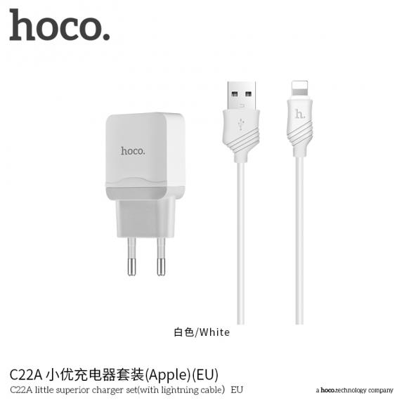 HOCO nabíječka / adaptér s kabelem pro Apple iPhone / iPod - 1m - bílá - možnost vrátit zboží ZDARMA do 30ti dní