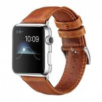CRAZY HORSE řemínek z PU kůže pro Apple Watch 42mm / 44mm - hnědý
