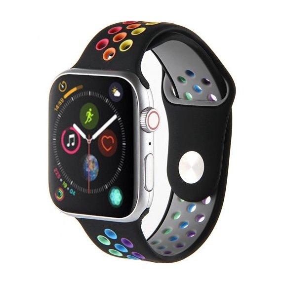 AppleKing sportovní řemínek pro Apple Watch 42mm / 44mm - černo-duhový - možnost vrátit zboží ZDARMA do 30ti dní