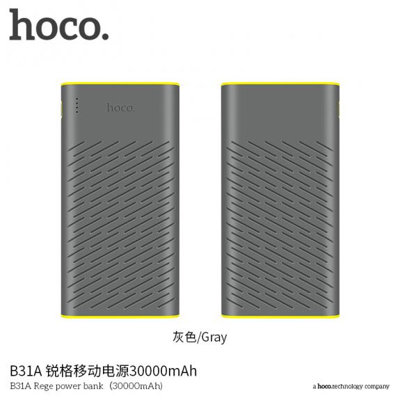 HOCO powerbanka 30000mAh pro Apple iPhone / iPad / iPod - šedá - možnost vrátit zboží ZDARMA do 30ti dní