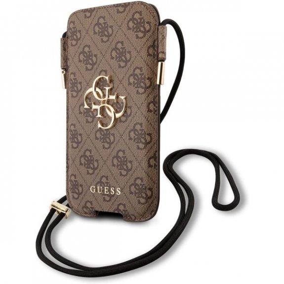 Guess 4G Pouch Script Logo univerzální kapsa pro iPhone - velikost S/M - hnědá GUHCP12M4GPSBR - možnost vrátit zboží ZDARMA do 30ti dní