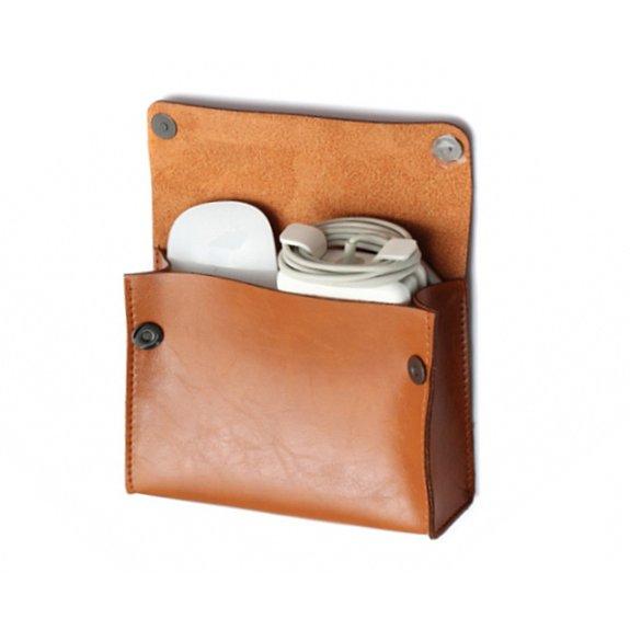SOYAN kapsa z umělé kůže na příslušenství pro MacBook - hnědá - možnost vrátit zboží ZDARMA do 30ti dní