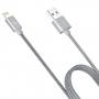 HOCO certifikovaný MFi synchronizační a nabíjecí lightning kabel pro Apple iPhone / iPad / iPod - opletený šedý - 1.2m