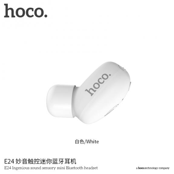 HOCO malé bezdrátové Bluetooth sluchátko s mikrofonem pro Apple iPhone - bílé - možnost vrátit zboží ZDARMA do 30ti dní