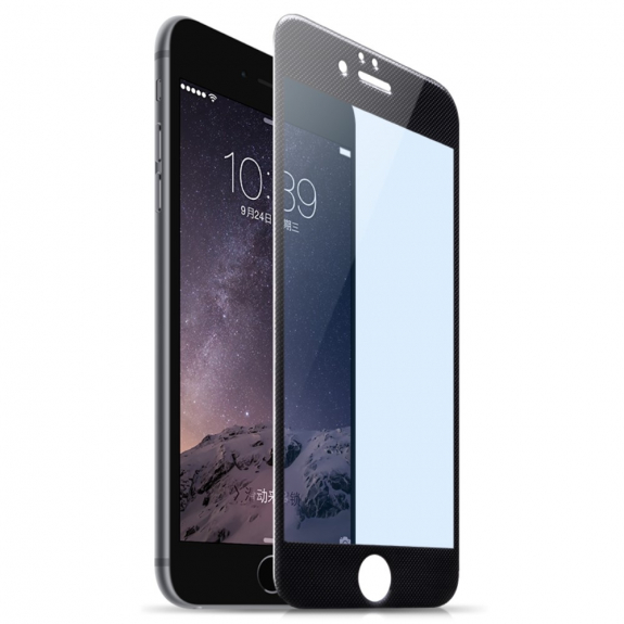 HOCO super odolné 9H tvrzené sklo (Tempered Glass) pro Apple iPhone 6 / 6S - Anti-blue-ray - vroubkovaný rámeček černý - možnost vrátit zboží ZDARMA do 30ti dní