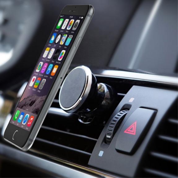AppleKing univerzální 360° otočný magnetický držák na ventilační mřížku auta pro Apple iPhone a další zařízení – černo-stříbrný - možnost vrátit zboží ZDARMA do 30ti dní