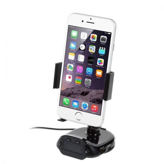 AppleKing otočný držák do auta pro Apple iPhone 5 / 5C / 5S / SE / 6 / 6S, 7, iPod touch 5 / 6.gen. s nabíječkou a FM vysílačem – černý - možnost vrátit zboží ZDARMA do 30ti dní
