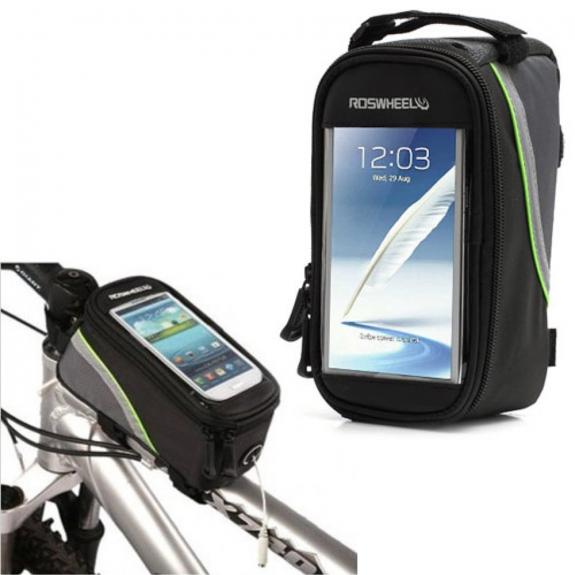 AppleKing sportovní pouzdro na kolo s úložným prostorem a reflexním pouzdrem pro Apple iPhone 6 Plus / 6S Plus / 7 Plus – černo-zelené - možnost vrátit zboží ZDARMA do 30ti dní